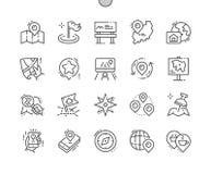 Do vetor perfeito bem feito do pixel do lugar linha fina grade 2x dos ícones 30 para gráficos e Apps da Web Imagens de Stock Royalty Free