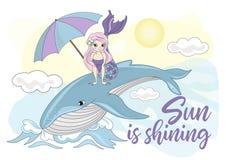 Do vetor tropical do verão do oceano do mar SEREIA colorida da BALEIA da ilustração ilustração do vetor