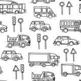 Do vetor urbano do transporte do esboço teste padrão sem emenda Fotos de Stock