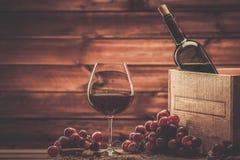 Do vinho vida ainda no interior de madeira Fotografia de Stock Royalty Free