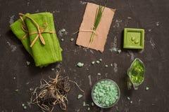 Do vintage dos termas vida verde ainda com sabão feito a mão Criticar severamente a configuração, vista superior Cartão no papel  Fotografia de Stock Royalty Free