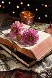 Do vintage do estilo vida ainda com livro e as flores abertos imagem de stock royalty free