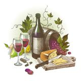 Do vintage vida ainda com vinho ilustração do vetor