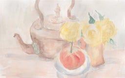 Do Watercolour vida ainda com uma chaleira de cobre, as flores e a maçã Foto de Stock Royalty Free