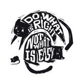 Do what is right not what is easy. Motivational phrase. Handdrawn typography inspiring poster. Royalty Free Stock Photography