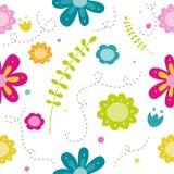 Teste padrão bonito colorido do doodle da mola Fotografia de Stock