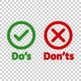 Do y pone 'ts firma el icono en estilo transparente Como, ejemplo desemejante del vector en fondo aislado Sí, ningún concep del n ilustración del vector