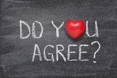 Do you agree heart. Do you agree question phrase written on chalkboard with red heart symbol royalty free stock images