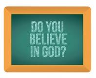 Do you believe in god blackboard. Illustration design graphic Stock Images