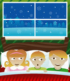 Do You Hear Santa?. Three kids awake on Christmas night, excited and wondering if it's Santa they hear outside the window Royalty Free Stock Images