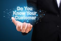 Do You Know Your Customer in hand businesswoman royalty free stock image