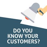 DO YOU KNOW YOUR CUSTOMERS? Announcement. Hand Holding Megaphone With Speech Bubble vector illustration