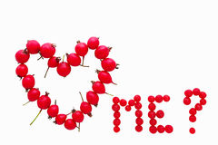 Valentine card concept. Do you love me? question isolated on white. Royalty Free Stock Photography