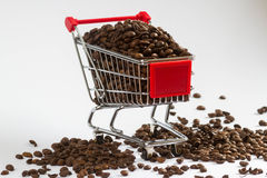 Do you need some coffee?. Shopping cart with coffee Royalty Free Stock Photos