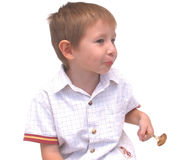 Do You See It. Little boy with peculiar expression Stock Photos