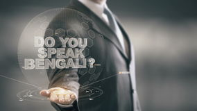 Do You Speak Bengali Businessman Holding in Hand New technologies stock video