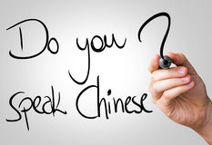 Do you speak Chinese hand writing with a black mark on a transparent board.  royalty free stock photo