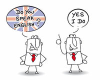 Do you speak english. Two men are speaking english Stock Images
