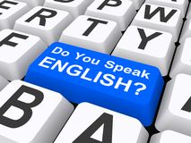 Do you speak English button Stock Photos