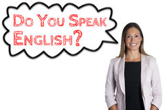 Do you speak English? cloud sentence words language school. Woman on white background royalty free stock photography