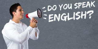 Do you speak English foreign language learning school young man. Megaphone bullhorn stock photo