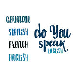 Do you speak english - hand drawn, calligraphy and lettering, for use in your designs logos, or other products Royalty Free Stock Images