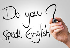 Do you speak English hand writing with a black mark on a transparent board.  royalty free stock photography