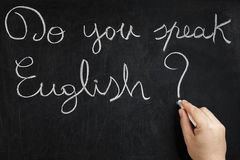 Do you speak English Hand Writing Blackboard Stock Image