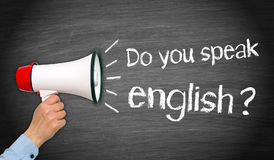 Do you speak english - megaphone with hand and text. Do you speak english - megaphone with female hand and text stock images
