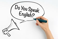 Do you speak english? Megaphone and text on a white background Stock Photos