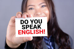 DO YOU SPEAK ENGLISH! message on the card Stock Photography