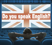 Do you speak English? phrase on cinema screen. Do you speak English? phrase on wide cinema screen Royalty Free Stock Photos