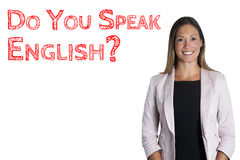 Do you speak English? sentence words language school. Woman on white background Stock Photography