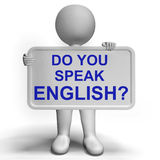 Do You Speak English Sign Showing Language Learning Royalty Free Stock Photography