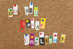 Do You Speak English. Single letters pinned on cork Royalty Free Stock Image
