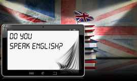 Do You Speak English - Tablet and Books Stock Photography