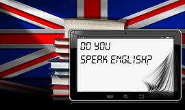 Do You Speak English - Tablet and Books Royalty Free Stock Images