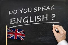 Do You speak English? Text written on blackboard Stock Images