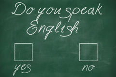 Do you speak english. Written with chalk on blackboard Royalty Free Stock Image
