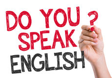 Do you speak English written on the wipe board Royalty Free Stock Image