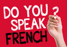 Do you speak French written on the wipe board Stock Photos