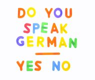 Do you speak german. Stock Image