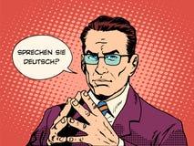 Do you speak German interpreter language courses. Pop art retro style. Sprechen Sie Deutsch Stock Image