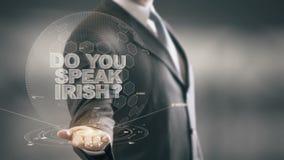 Do You Speak Irish Businessman Holding in Hand New technologies stock video footage