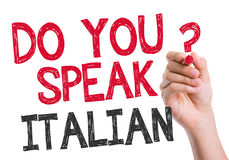Do you speak Italian written on the wipe board Royalty Free Stock Photography