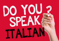 Do you speak Italian written on the wipe board Royalty Free Stock Photos