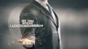 Do You Speak Luxembourgish Businessman Holding in Hand New technologies stock footage