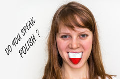 Do you speak Polish? Woman with flag on the tongue royalty free stock image