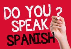 Do you speak Spanish written on the wipe board Stock Photography
