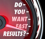 Do You Want Fast Results Speedometer Outcome Instant Gratificati Stock Image